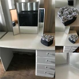 Grey dressing table with diamanté Mirror & glitter rose box