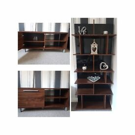 Black gloss and walnut effect shelving and t.v unit