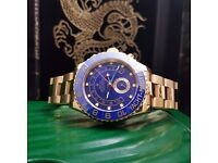 Gold rolex yachtmaster 2 with blue ceramic bezel and blue face comes with bag box and papers