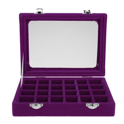Jewelry Necklace Ring Earring Storage Display Box Organizer Travel Purple