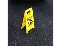 4 PACK CAUTION WET FLOOR SIGN CLEANING IN PROGRESS YELLOW WARNING CONE