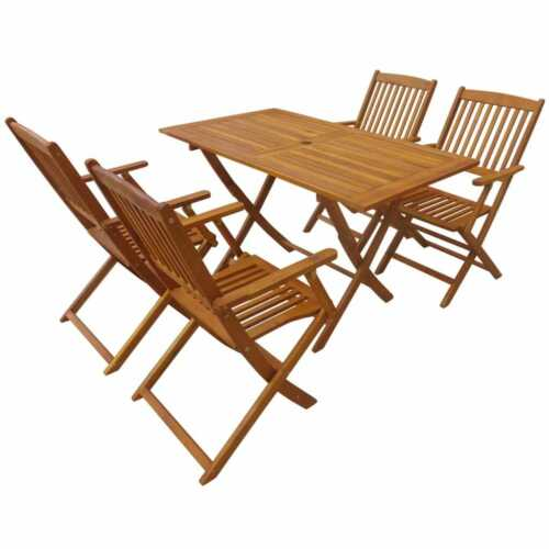 Garden Furniture - 5pcs Folding Wooded Dining Table Chairs Set Outdoor Patio Garden Furniture
