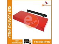 NEW RED HIGH GLOSS MDF FLOATING SHELVES ROOMS WALL MOUNTED DISPLAY UNIT SHELF
