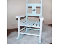 small mini rocking arm chair childs childrens blue white nursery personalised train baby gift kids