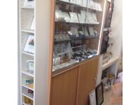 Glass display cabinet for shop retail jewellery phones products Beech wood with Lockable doors