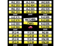 Short dateless Vehicle Number Plate from £370 including transfer. Matching pairs from £800..