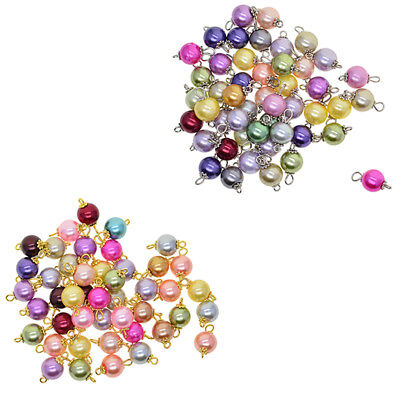 50Pack Charms Glass Pearl Pendant for Dangle Earring Bracelet Jewelry Making