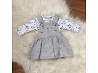 Mothercare baby girls bunny pinafore outfit clothes 👶🏼👶🏼👶🏼