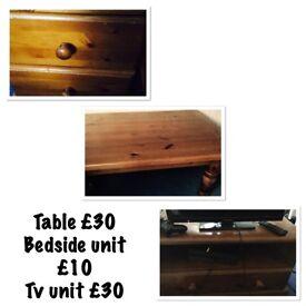 Pine coffee table , tv unit & bedside unit