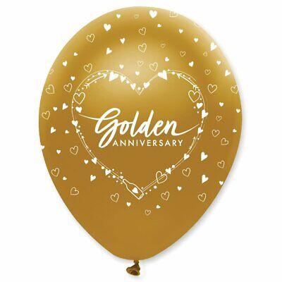 6 X 50th Aniversario Bodas de Oro Globos Látex Decoración Fiesta