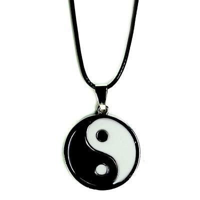 YIN YANG NECKLACE Enamel Silver Tone Pendant Charm Jewelry Tai Chi Martial Arts