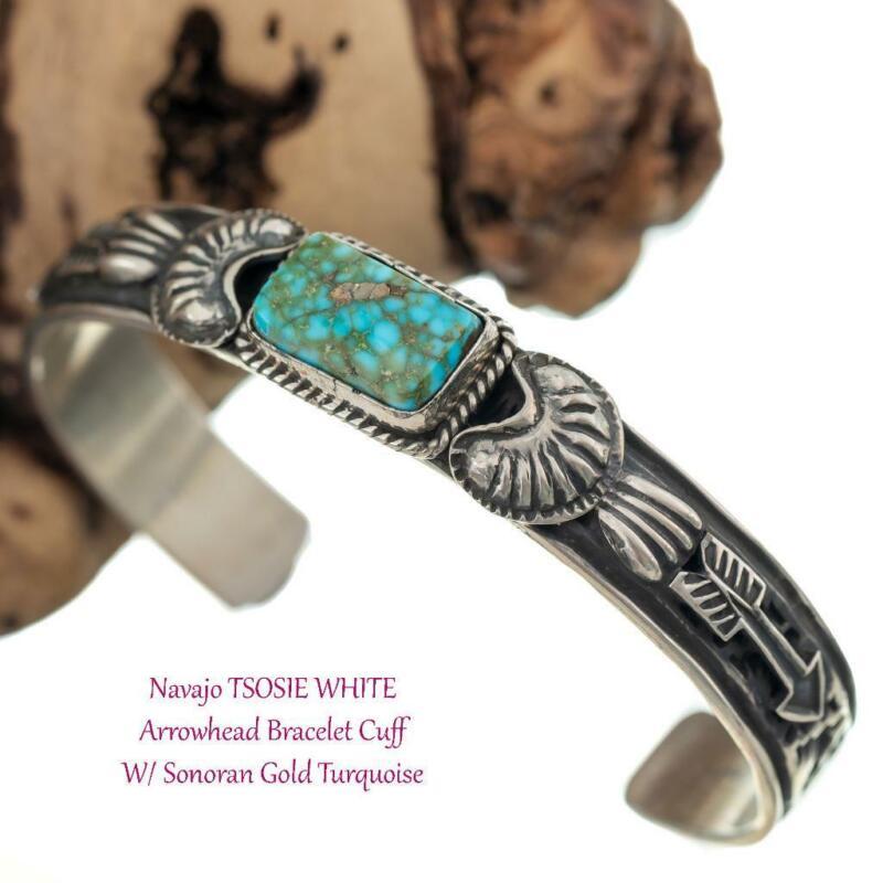 Navajo Turquoise Bracelet  Sterling Silver Pilot Mountain Arrowhead Cuff Vintage