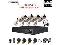 Complete CCTV kit 4CH DVR HD 1080p 2.0MP Bullet Cameras IR Day/Night Monitoring