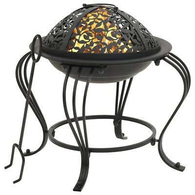 Fire Pit Bowl Steel With Carved Pattern Includes Poker And Cover Garden Patio