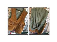 Men's waistcoat size s. Brown suede front and satin like back.
