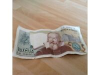 A 1983 2000 Italian Lira Banca D'Italia Bank Note with Galileo Galilel on the Front