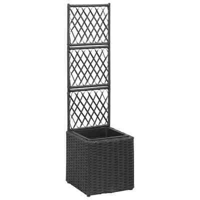 vidaXL Trellis Raised Bed with 1 Pot 30x30x107cm Poly Rattan Black Flower Box