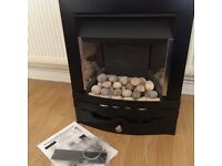 Asaba Contemporary slimline convector gas fire with pebbles