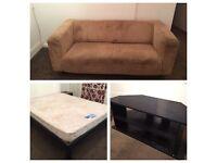 Furniture starter set including kingsize bed frame with silentnight mattress, sofa, and TV unit