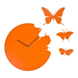 BUTTERFLY orange Wall Clock + 3 Butterflies