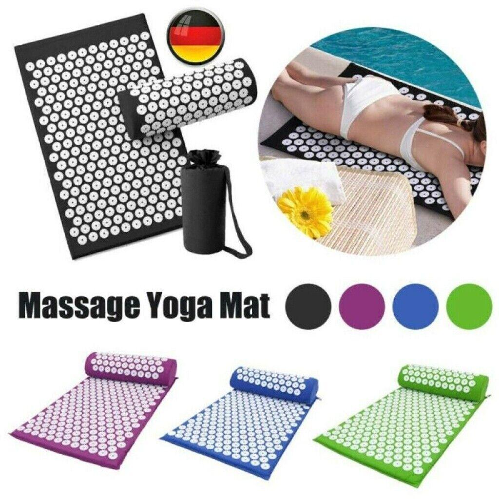 Yoga-Matte Akupressurmatte+Kopfkissen Massagematte Schnittschmerz Akupunktur DE