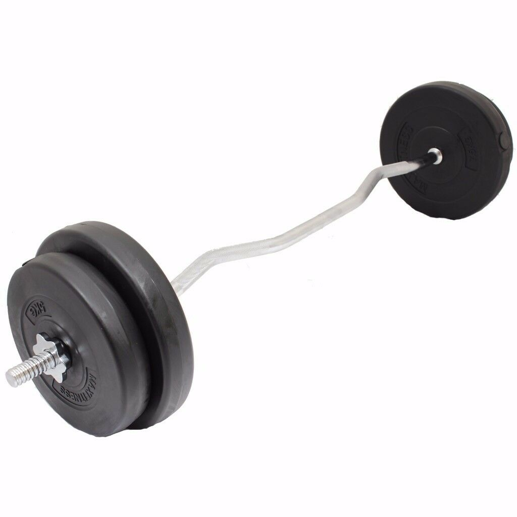 EZ Curl Bar Weight Set From £23! EZ Curl Bar Weight Training Vinyl Weight Plates: NEW