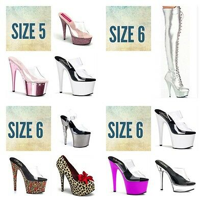 Wholesale Exotic Dancer Shoes (Wholesale Lot 14 Pairs 5 6 PLEASER Stripper Exotic Dancer Tony Shoes Boots)
