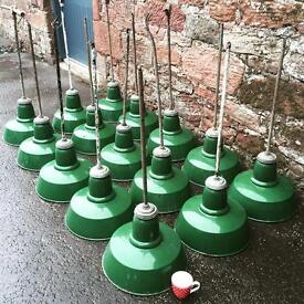 WANTED Enamel and industrial old lights.