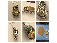 Woman Pendant Sterling Silver 925 with Ruby Gems Frog Citrine Oval 14x10 Faceted New Gems