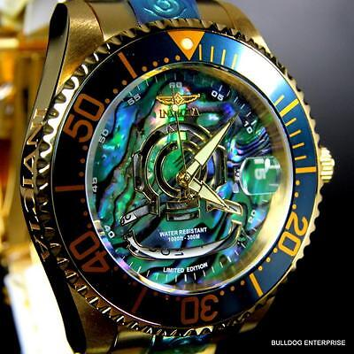 Invicta Grand Diver NH35A Automatic Blue Abalone Gold Plated 47mm Watch New