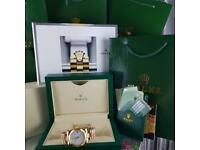 Rolex DateJust Gold Plain White Face - Complete Set Box And Papers 1 Year Free Warranty