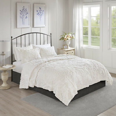 Madison Park Viola 3 Piece Tufted Cotton Chenille Damask Cov