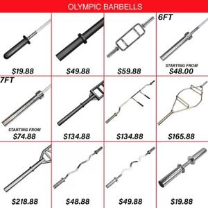 Olympic Bar Barbell Swiss Training Aluminum Womens Hex Trap Squat Axle Economy Tricep Triceps Super E-Z 5ft 6ft 7ft