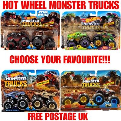 Hot Wheels 1:64 Monster Trucks Demolition Doubles 2 Pack Choose Your Favourite