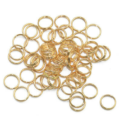 200x Gold SMALL Keychain Rings Pendant Chain Double Loop Split Key Ring 8mm