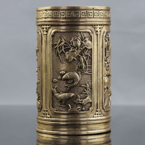 Chinese Brass Hand Carved Koi Fish Pattern Brush Pot Xuande Mark