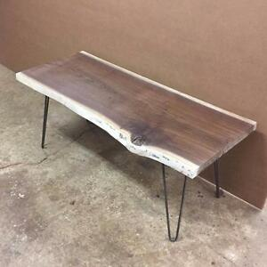 Small Coffee Tables --- Solid Hardwood, Live Edge Black Walnut White Oak, Reclaimed Pallet Wood, with Hairpin Legs