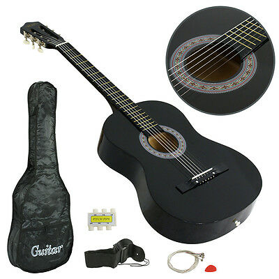 "38"" Full Size Adult Acoustic Guitar GIGBAG STRAP TUNER NEW beginner BLACK Child"