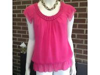 Ted Baker top Size 2. Shocking pink. New and unworn.