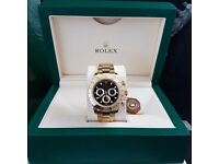 Fresh Rolex Daytona with black face gold Bezel with all gold oyster bracelet comes in Rolex box&bag