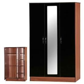 Brand New Alpha Wardrobe in White , Black and Black / Walnut Color Options