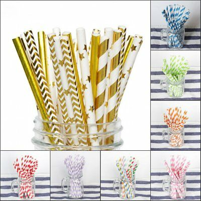 100PCS Gold Drink Paper Straws Wedding Birthday Party Supplies Polka Baby Shower