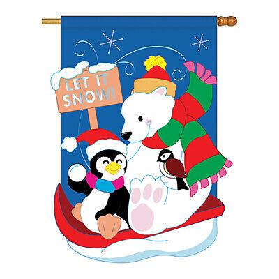 Snow Fun - Winter Wonderland Applique Garden Yard Banner House Flag