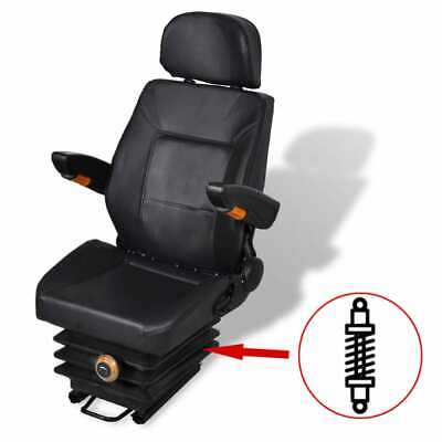 Adjustable Tractor Seat With Suspension Headrest Foldable Armrest Waterproof