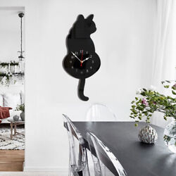 Battery Power 3D Tail Wagging Black Cat Wall Clock for Bedroom Home Decor