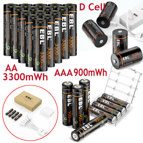 Lot 1.5V AA / AAA / 9V/ D Cell USB Battery Lithium li-po Rechargeable Batteries