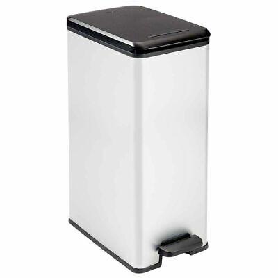 Curver Deco Slim Pedal Bin 40L Silver Rubbish Dustbin Trash Can Container