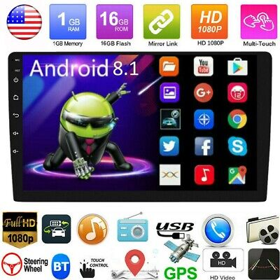 10.1'' 2 DIN Android 8.1 Car Stereo MP5 Player GPS Navi WiFi Bluetooth FM Radio