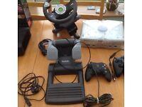 Xbox console; Saitek steering wheel and matching pedals etc