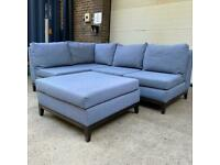 (Free local delivery) Steel Grey/Blue Corner Sofa & Footstool